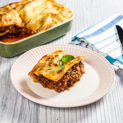 Lasagna cu carne de vită și ciuperci