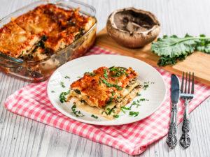 Lasagna cu ciuperci și kale
