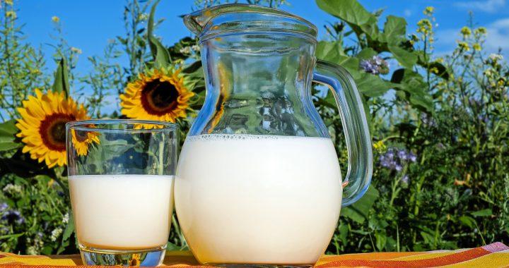 Lapte dulce în recipiente transparente