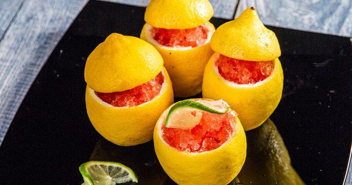 Sorbet de lămâie cu Campari