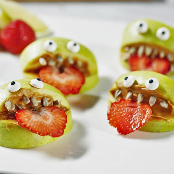 Monstruleți din măr cu unt de arahide