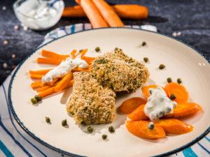 Cod cu morcovi și dovleac la cuptor