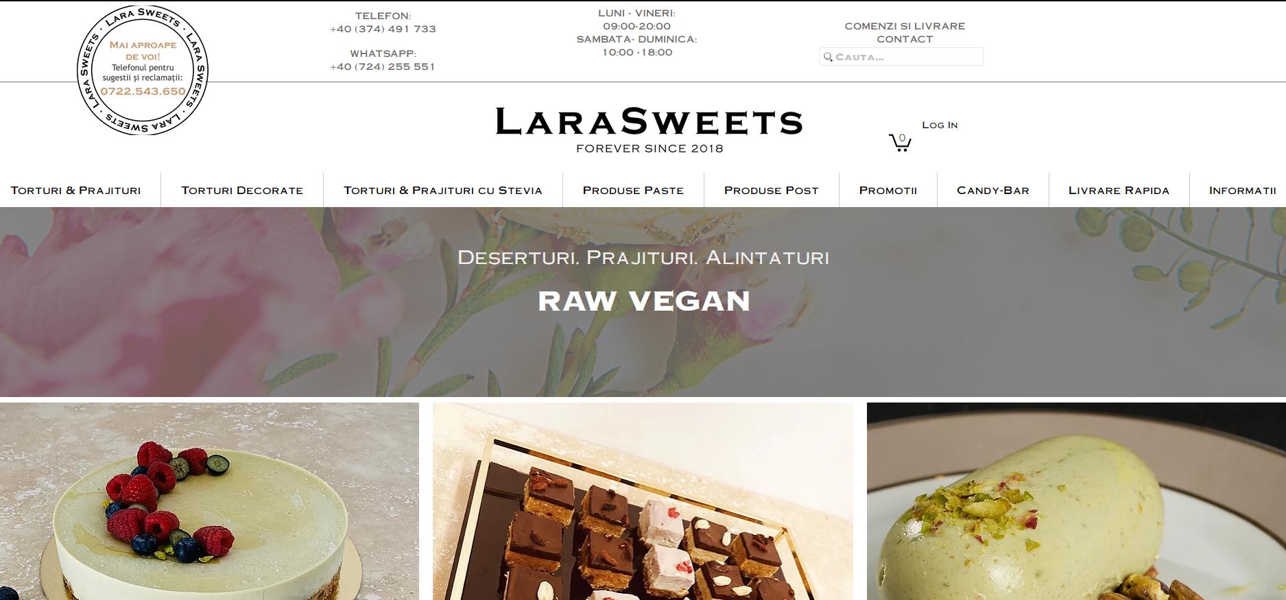 lara sweets web page